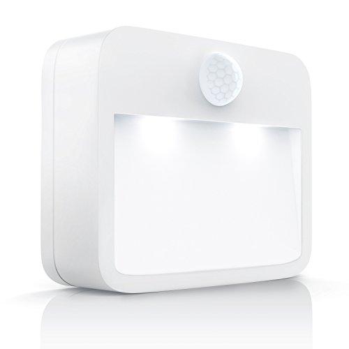 CSL - Brandson - LED Nachtlicht mit Bewegungsmelder und Helligkeitssensor Dämmungssensor - Batteriebetriebene Nachtleuchte Nachtlampe - Energieklasse A