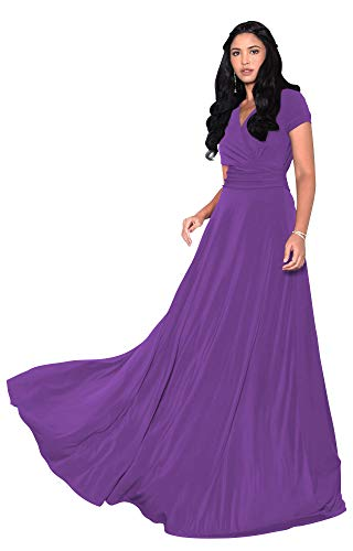 KOH KOH Petite Womens Long Cap Short Sleeve V-Neck Flowy Cocktail Slimming Summer Sexy Casual Formal Sun Sundress Work Cute Gown Gowns Maxi Dress Dresses, Lavender Purple XS 2-4