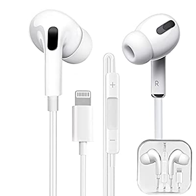 Hi-Res Extra Bass Earbuds Noise Isolating In-Ear Headphones Wired Earbuds with Microphone & Volume Control Stereo Earphone for iPhone 12 Mini/12 Pro Max/SE/11 Pro Max/XS/X/XR/8/7 Plus-white from Tech Sense Lab