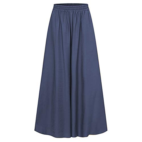 Primavera y Otoño Banda Elástica Ancho Pantalones De Pierna Sólida Ancho De Longitud Completa Pantalones De Mujer Pantalones De Gran