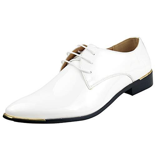 zpllsbratos Herren Lederschuhe Lackschuhe Derby Schnürhalbschuhe Oxford Hochzeit Schuhe 38-48(Weiß,39)
