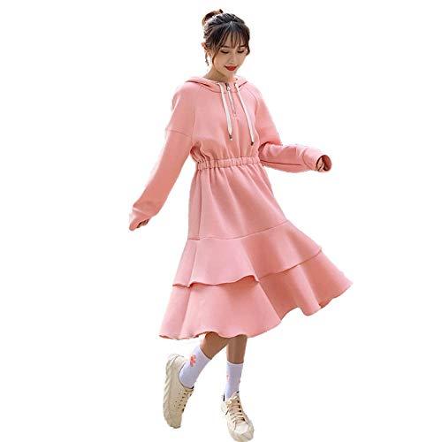 MedusaABCZeus Kleid Damen Knielang,Herbst- und Winterkuchen-Kleid, Hemd mit Kapuze, langes Umstandskleid, langärmeliges Pulloverkleid-pink_2XL