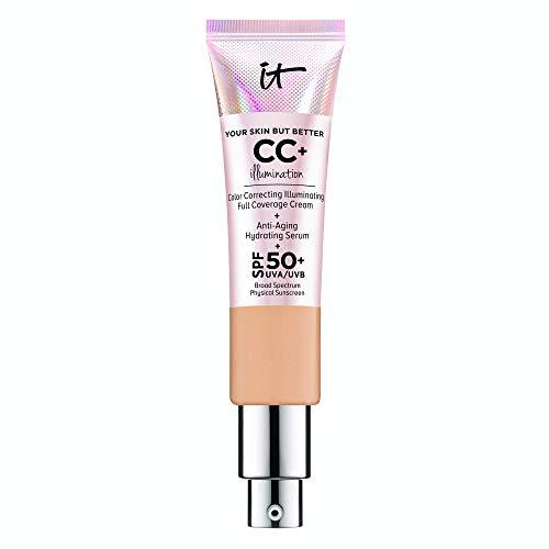 IT Cosmetics Your Skin But Better CC+ Cream Illumination, Medium Tan (W) - Color Correcting Cream, Full-Coverage Foundation, Anti-Aging Serum & SPF 50+ Sunscreen - Radiant Finish - 1.08 fl oz