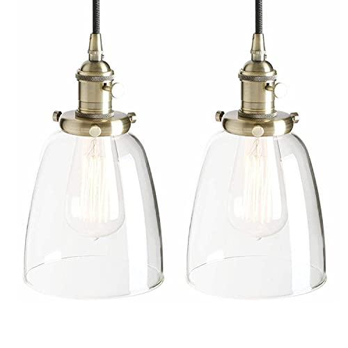 LATOO Lámparas de araña Candelabro Retro candelabro Colgante Edison Cobre candelabro Socket iluminación Decorativa Campana de Vidrio (Color: Negro) (Color : Bronze)