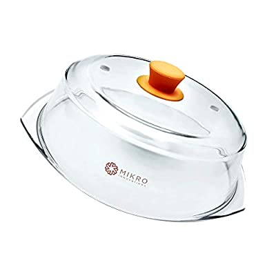 Glass Microwave Plate Food Cover Tall Splatter Guard BPA Free with Firm Grip Silicone Knob - Orange