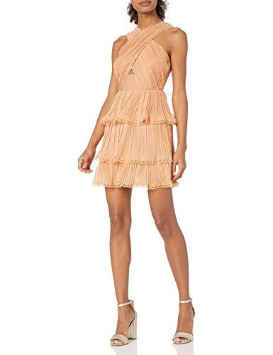 Keepsake The Label Women's Joyful Sleeveless X-Top Ruffle Mini Dress, Copper, L