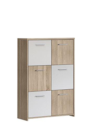 FORTE Kommode, Holz, Sonoma Eiche Dekor Kombiniert Mit Weiß, 77.2 x 29.6 x 112.7 cm