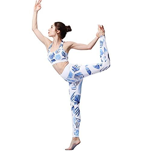 SCHUANG Conjuntos de gimnasio para mujer, 2 piezas, leggings con sujetador deportivo, conjuntos de yoga, traje XL