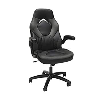 OFM ESS Collection Racing Style Bonded Leather Gaming Chair in Gray  ESS-3085-GRY