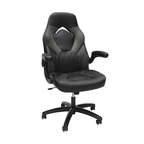 OFM Essentials Collection Racing Style Bonded Leather Gaming Chair, in Gray...