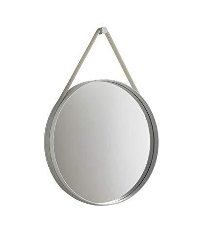 Hay, Strap Mirror, D:70 Silber - grau, HAY, hay, wandspiegel, Spiegel mit silikonband & wandhaken