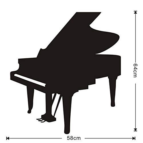 Musik Klavier Instrument Silhouette Wandkunst Wandbilder Vinyl Aufkleber Für Kinder Arbeitszimmer Abnehmbare Tapete Moderne Wohnkultur 58x64cm