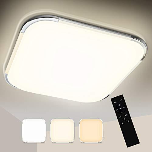 VINGO LED Deckenlampe, Farbwechsel Deckenleuchte Wohnzimmer Lampe für Schlafzimmer, Küche, Bad, Büro, IP44, Rund, (24W Dimmbar, 24W Viereckig)