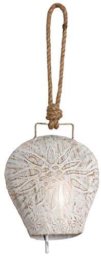 AUBRY GASPARD Cloche Edelweiss en métal Blanchi 17 cm
