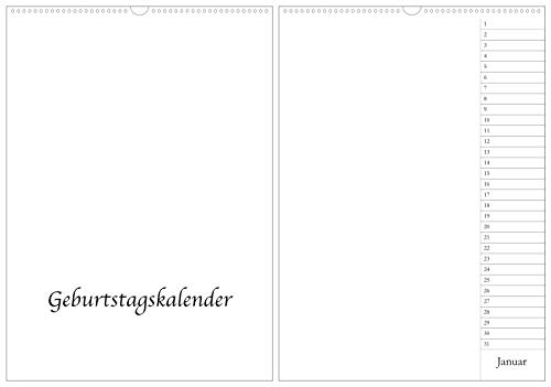 Geburtstagskalender Bastelkalender in DIN A3 / A2 - Wandkalender immerwährend/jahresunabhängig - Hochformat - Kreativkalender Fotokalender DIY Do-it-yourself - XXL - weiß (A3)