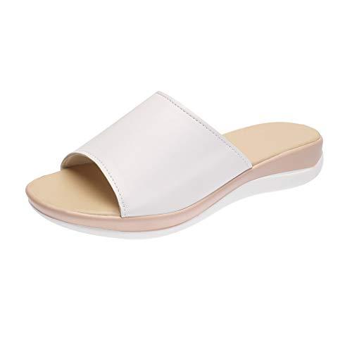 Damen Sandalen Slingback Wedge Peep Toe Bequeme Beach Strandsandale Slip On Sommer Outdoor Sandals(1-Weiß/White,35)