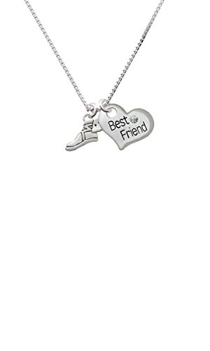 Cheer Bunny Winged Shoe - Mascot - Best Friend Heart Necklace