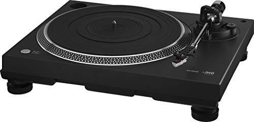 IMG Stageline DJP-200USB Stereo-Hi-Fi-Plattenspieler mit USB-Port und integriertem Phono-Vorverstärker, schwarz