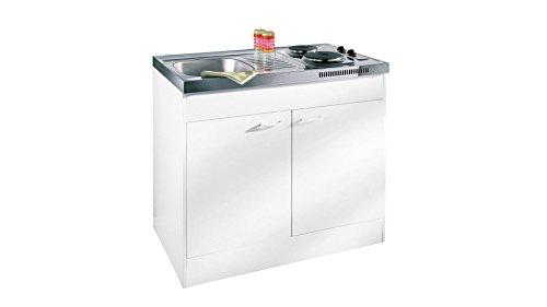 respekta Miniküche Single Pantry Küche Küchenblock 100 cm Weiss ohne Kühlschrank Pantry OK