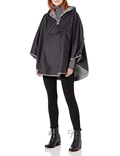 totes Women's Reversible Rain Poncho, Black, One Size