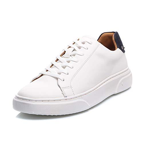MForshop - Zapatillas de deporte para hombre de piel ecológica y deportiva, para gimnasio, cors, zapatillas deportivas Y90 Blanco Size: 40 EU