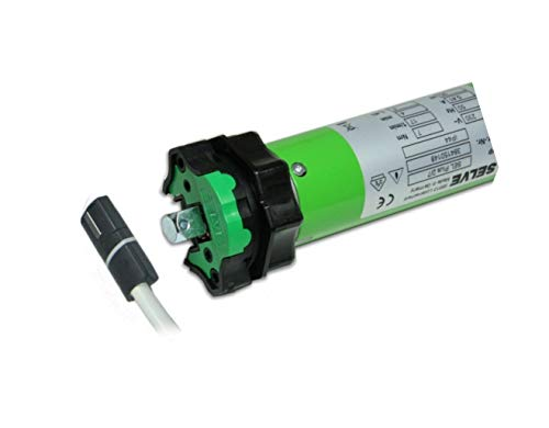 smarotech® Rollladen-Nachrüstset: Rohrmotor Selve SEL Plus 2/7 inkl. 4-Kant-Stahl-Stift mit 12mm Kopf, Anschlusskabel und SW 60 Adapter. (SEL Plus 2/7 ohne Lager, SecuBlock)