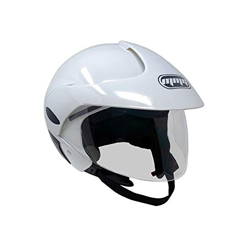 MMG 203 Motorcycle Scooter Open Face Helmet DOT Street Legal, Flip Up Shield, Shiny White, Large