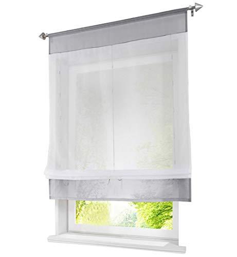 Tenda a pacchetto con coulisse, in voile, trasparente, Tessuto, grau, BxH 80x100cm