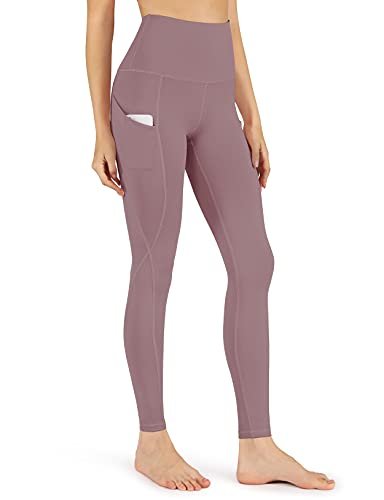 ODODOS Women's High Waisted Yoga Leggings with Pockets, Tummy Control Non See Through Workout Sports Athletic Running Pants, Full-Length, Lavender,X-Small