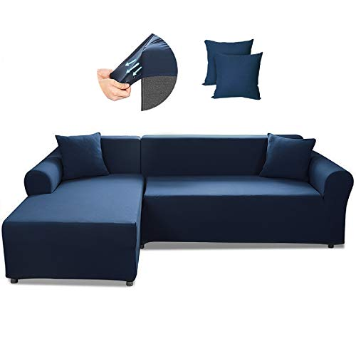 SAFETYON Sofa Slipcover, Sectional Couch Covers 2PCS, L-Shaped Sofa Cover Furniture Protector Cover with 2PCS Pillowcases, Elastic L-Type Stretch Sofa Covers 3 Seats +3 Seats, Navy Blue