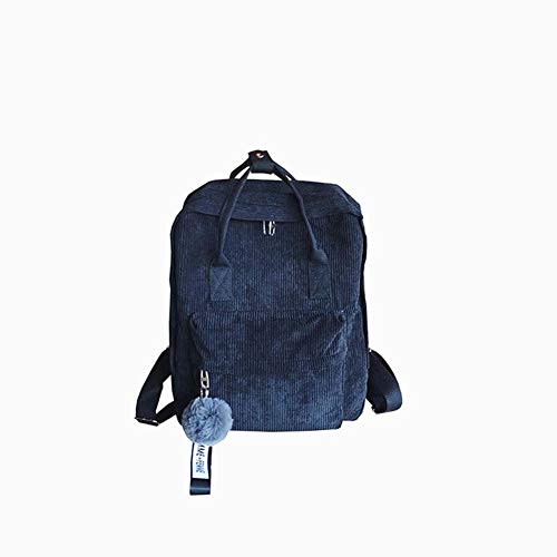 Frauen Mädchen Mode Rucksack mit Pompon Cord Rucksack Umhängetasche Reisehandtasche für Studenten Teens (Color : Blue)