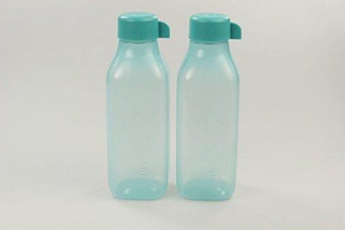 TUPPERWARE To Go Eco 500 ml türkis (2) EcoEasy quadtratisch Flasche 28638