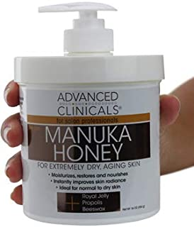 Advanced Clinicals Manuka Honey Cream for Extremely Dry, Aging Skin For Face, Neck, Hands, and Body. Spa Size 16oz. (16oz)