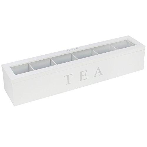 com-four® Caja de Almacenamiento de te y bolsitas de te, te Blanco Caja de Madera con 6 Compartimentos y Ventana, 43 x 9 x 8,7 cm (01 Piezas - 43x9x8.7cm Blanco)