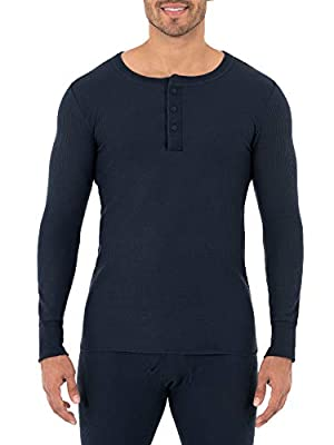 Fruit of the Loom Men's Classic Midweight Waffle Thermal Henley Top, Navy, Large