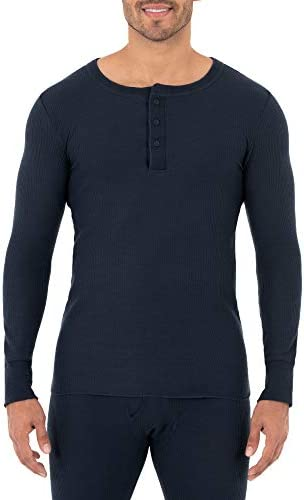 Fruit of the Loom Men s Classic Midweight Waffle Thermal Henley Top Navy Large product image