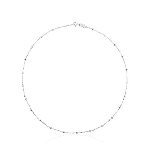 TOUS - Chain Choker in Sterling Silver with Details - Length: 45.5 cm