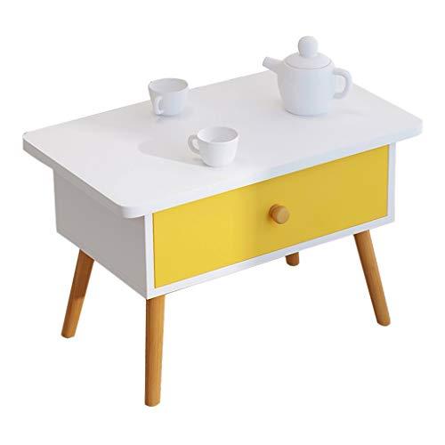 YULAN houten bijzettafel salontafel met lade rechthoek retro thee tafel woonkamer balkon klein appartement bank 60 * 35 * 37cm