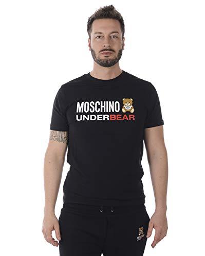 Moschino T-Shirt Nera con Logo Bianco (L)