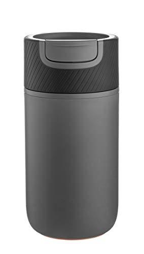 WaterLogo KaffeeBecher to go, Coffee to go Becher. 350 ml, mit Magic Grip Pad! Doppelwand Isolierung, 100% auslaufsicher, Design Reisebecher, Travel Mug.(Grau Schwarz)