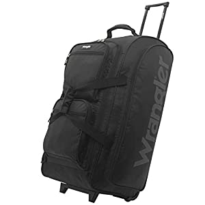 Wrangler Wesley Rolling Duffel Bag, Black, Large 30-Inch