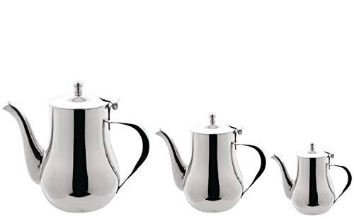 Arabische Teekanne, Edelstahl, 1,36 l, 1 l, 0,5 l, 3 Stück