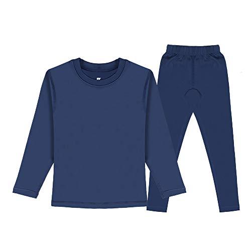HEROBIKER Thermounterhose für Jungen und Kinder, sehr weich, mit Fleece gefüttert, lang, Thermo-Unterhose, Set für Winter und Skifahren, warm - Blau - Klein