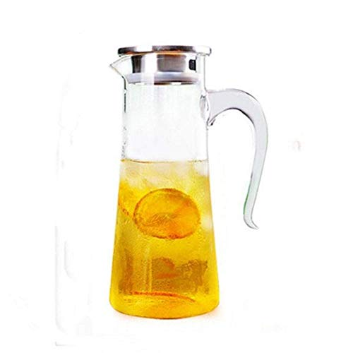 HJYSQX 1.5 L/L Glass Water Kettle, Large Outlet Water Jug, Waterproof Transparent Container, Glass Kettle with Lid, Teapot Jug Suitable for Juice/Flower Tea (Single Pot, No Cup)