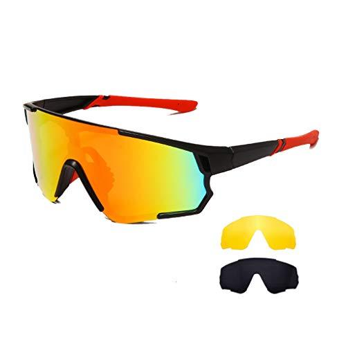Long Keeper Occhiali Ciclismo Polarizzati con 3 Lenti Intercambiabili Occhiali da sole Sportivi da Uomo Donna UV400 Protezione per Corsa Bici Sport (Grigio + Giallo + Rosso)