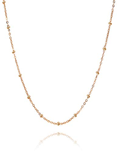 18 Karat vergoldete Rosenkranz Satellitenkette Halskette | Ausgefallene Oval Link Saturn Chain Halskette Zierlicher Schmuckhalsband für Männer und Frauen mit kostenloser lebenslanger Ersatzgarantie