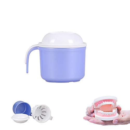 Denture Case,Denture Cup with Strainer Portable Denture Bath Box Case Can Be Used As a Gift for Mom and Dad for Safe Guard Dentures,Capacity 10.5 oz