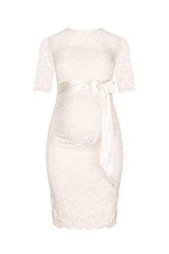 Herzmutter Umstands-Spitzen-Kleid - Elegantes-knielanges-Schwangerschafts-Kleid - für Festliche Anlässe-Hochzeit-Feier - Mit Spitze - Creme-Weiß-Champagner-Blau-Rot-Rosé - 6200 (L, Creme)