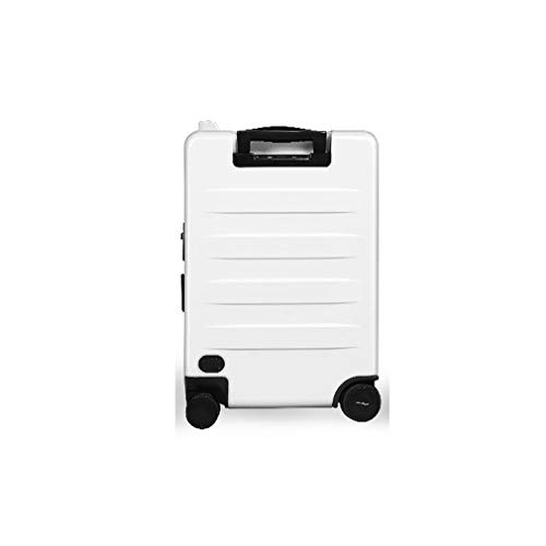 ZCNNO 20 Inch Smart Electric Scooter Suitcase Intelligent Automatic Follow Suitcase Portable Travel Riding Trolley Case Fingerprint Suitcase, White