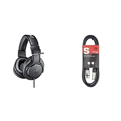 Audio-Technica ATH-M20X Professional Headphones - Black & Stagg 3m XLR to XLR Plug Microphone Cable by
